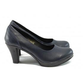 Дамски обувки на висок ток - естествена кожа - сини - EO-4974