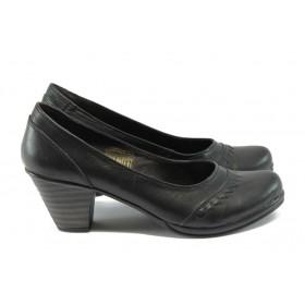 Дамски обувки на среден ток - естествена кожа - черни - EO-4976
