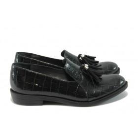 """Дамски обувки на среден ток - естествена кожа с """"кроко"""" мотив - черни - EO-4973"""