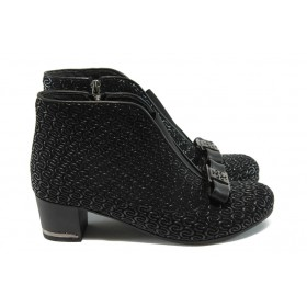 Дамски боти - естествена кожа - черни - EO-5002