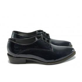 Дамски обувки на среден ток - естествена кожа-лак - сини - EO-5065