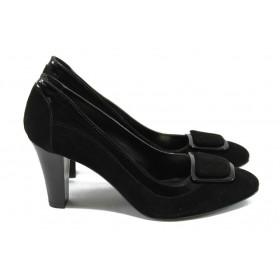 Дамски обувки на висок ток - естествен велур - черни - EO-5006