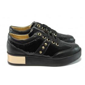 Дамски обувки на платформа - висококачествена еко-кожа - черни - EO-5068