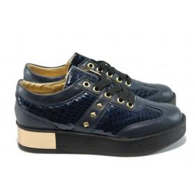 Дамски обувки на платформа - висококачествена еко-кожа - сини - EO-5069
