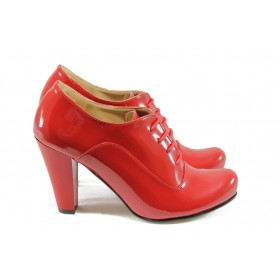 Дамски обувки на висок ток - еко кожа-лак - червени - EO-5178