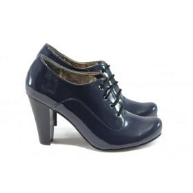 Дамски обувки на висок ток - еко кожа-лак - сини - EO-5179