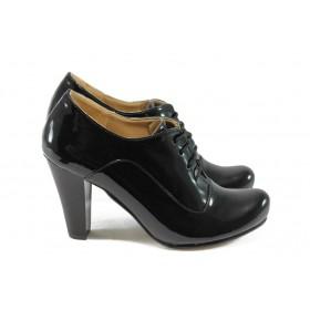 Дамски обувки на висок ток - еко кожа-лак - черни - EO-5180