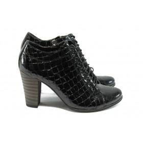 """Дамски обувки на висок ток - естествена кожа с """"кроко"""" мотив - черни - EO-5181"""
