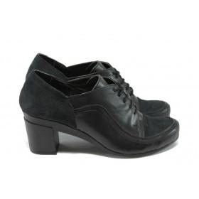 Дамски обувки на среден ток - естествена кожа с естествен велур - черни - EO-5177