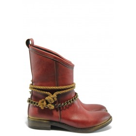 Дамски боти - висококачествена еко-кожа - червени - EO-5319