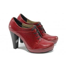 Дамски обувки на висок ток - еко кожа-лак - червени - EO-5415