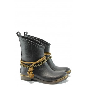 Дамски боти - висококачествена еко-кожа - черни - EO-5414
