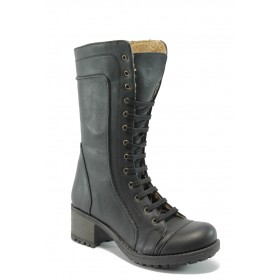 Дамски ботуши - висококачествена еко-кожа - черни - EO-5403