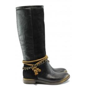 Дамски ботуши - висококачествена еко-кожа - черни - EO-5421