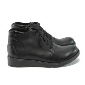 Дамски боти - естествена кожа - черни - EO-5436