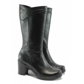 Дамски ботуши - естествена кожа - черни - EO-9602
