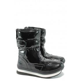Дамски боти - еко кожа-лак - черни - EO-5481