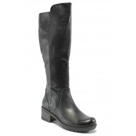 Дамски ботуши - естествена кожа - черни - EO-5485