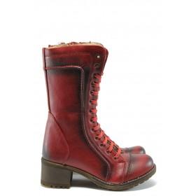Дамски ботуши - висококачествена еко-кожа - червени - EO-5483