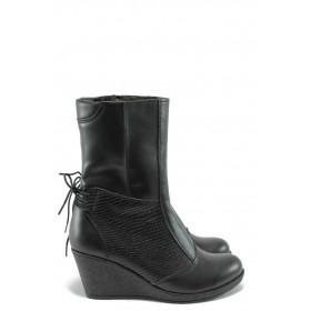 Дамски боти - естествена кожа - черни - EO-5498