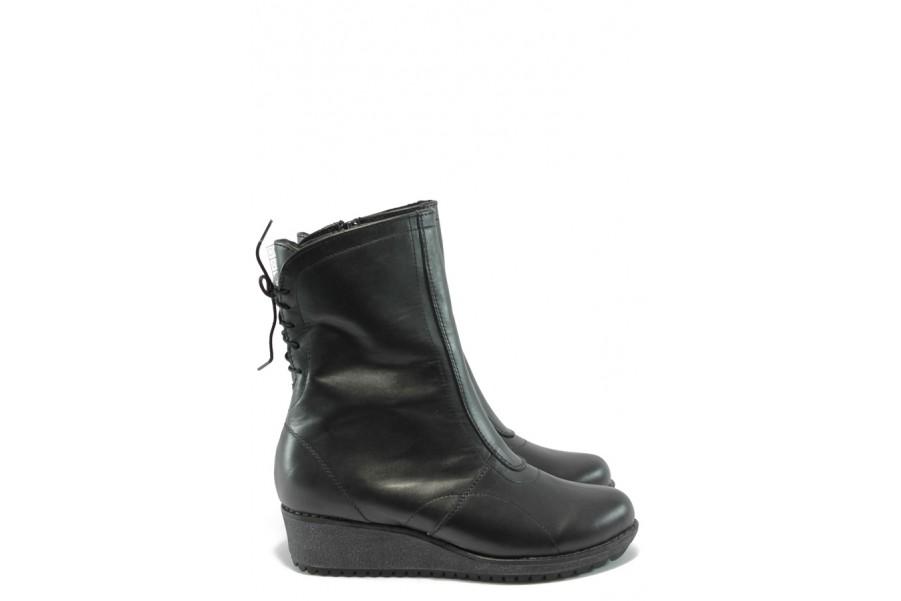 Дамски боти - естествена кожа - черни - EO-5493