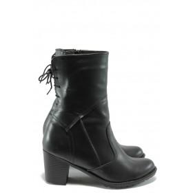 Дамски боти - естествена кожа - черни - EO-7695