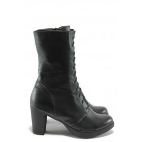 Дамски боти - естествена кожа - черни - EO-5492