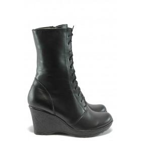 Дамски боти - естествена кожа - черни - EO-7696