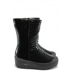 Дамски боти - еко кожа-лак - черни - EO-5509