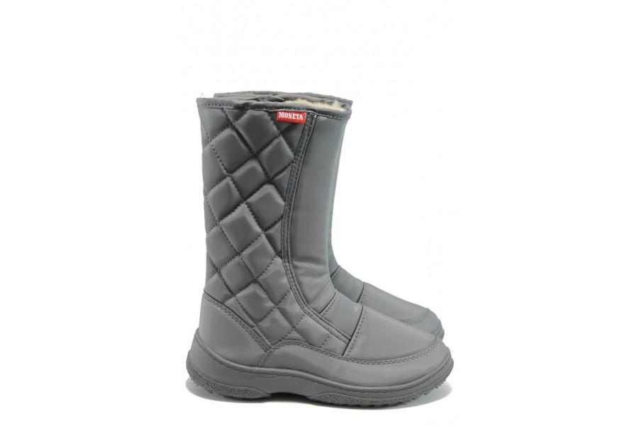 Дамски боти - висококачествен текстилен материал - сиви - EO-5512