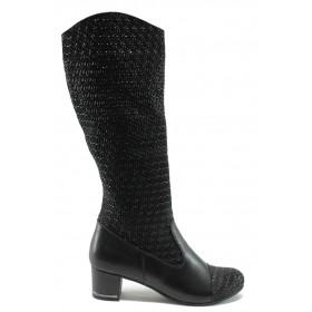 Дамски ботуши - естествена кожа - черни - EO-5524
