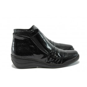 Дамски боти - естествена кожа-лак - черни - EO-5525