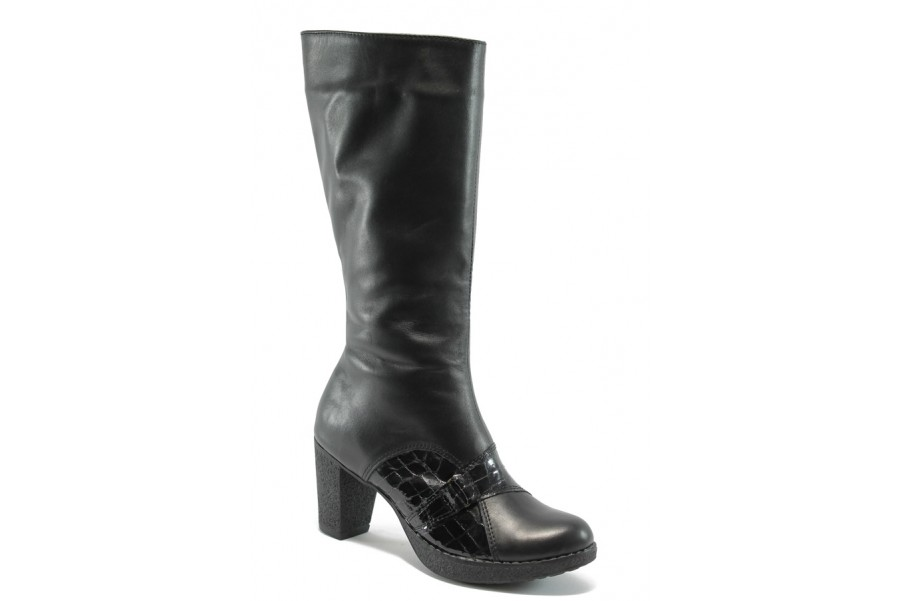 Дамски ботуши - естествена кожа - черни - EO-5533