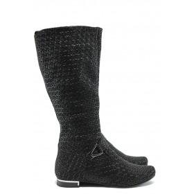 Дамски ботуши - естествена кожа - черни - EO-5536