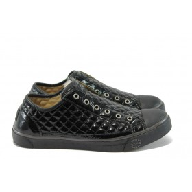 Равни дамски обувки - естествена кожа-лак - черни - EO-5274