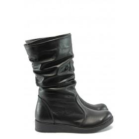 Дамски ботуши - естествена кожа - черни - EO-5595