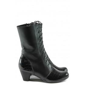 Дамски ботуши - естествена кожа - черни - EO-5596