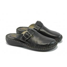 Дамски чехли - естествена кожа - черни - EO-4613