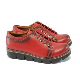 Дамски обувки на платформа - висококачествена еко-кожа - червени - EO-5747