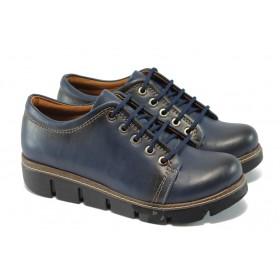 Дамски обувки на платформа - висококачествена еко-кожа - сини - EO-5749