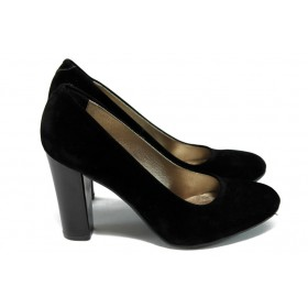 Дамски обувки на висок ток - висококачествен еко-велур - черни - EO-5750