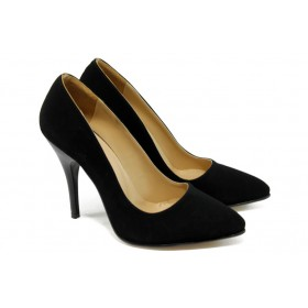 Дамски обувки на висок ток - висококачествен еко-велур - черни - EO-5751