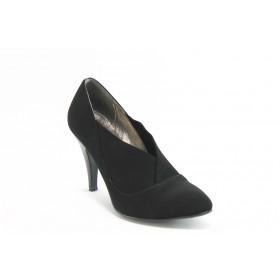 Дамски обувки на висок ток - висококачествен еко-велур - черни - EO-4790