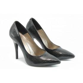 """Дамски обувки на висок ток - естествена кожа с """"кроко"""" мотив - черни - EO-3051"""