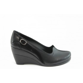 Дамски обувки на платформа - естествена кожа с естествен велур - черни - EO-3052