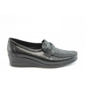 Дамски обувки на платформа - естествена кожа - черни - EO-5853