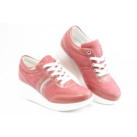 Дамски обувки на платформа - еко-кожа - оранжеви - EO-3073