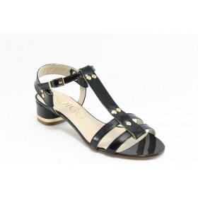Дамски сандали - естествена кожа-лак - черни - EO-3024