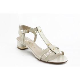 Дамски сандали - естествена кожа-лак - бежови - EO-3086