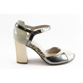 Дамски сандали - естествена кожа-лак - сребро - EO-3087